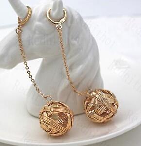 18K-Gold-Filled-3-4-034-Earrings-Swirl-Hollow-Sphere-Chain-Dangle-Hoop-Lady-DS