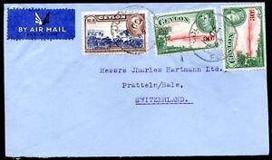 British-CEYLON-en-Suisse-air-mail-Cover-1946-Nice