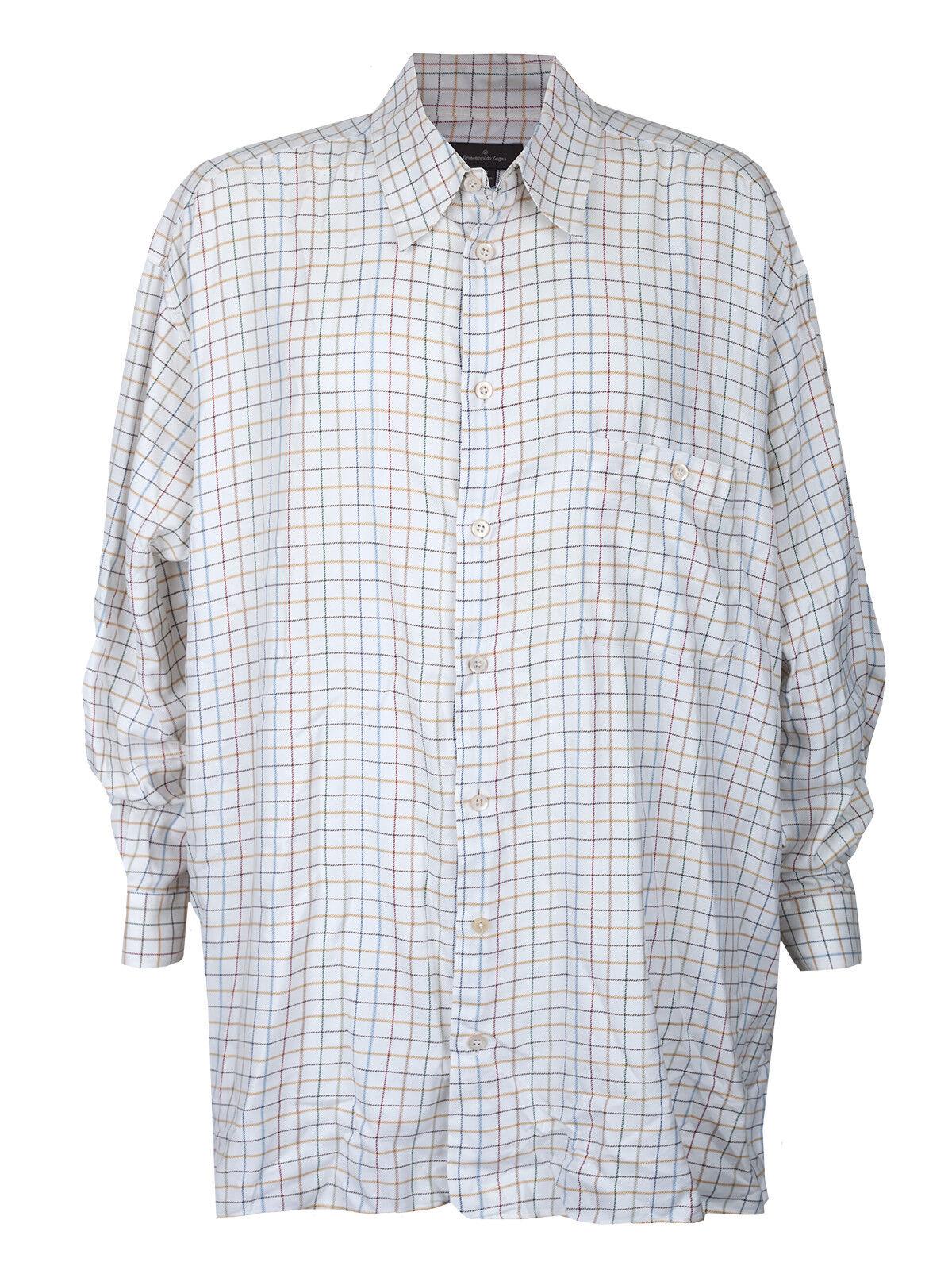 Men's Ermenegildo Zegna Shirt White Plaid Button Up 3XB Designer Big & Tall