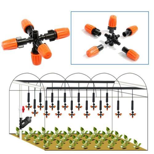 5-head Garden Sprinkler Irrigation Mist Nozzle Spray Mounting Adapter Adjustable