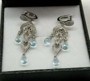 Fabulous-9ct-White-Gold-Blue-Topaz-And-Diamond-Chandelier-Dropper-Earrings