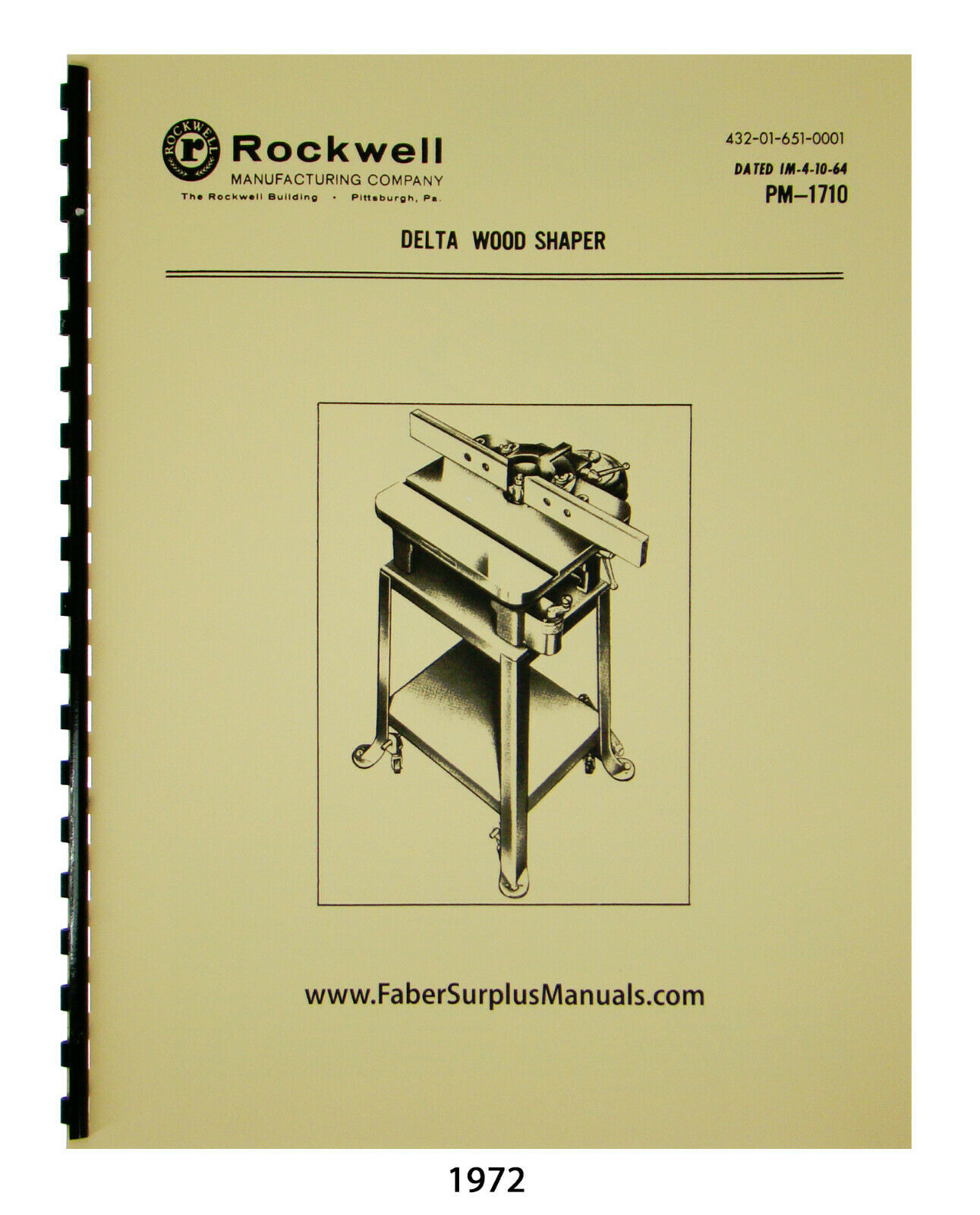 Delta Rockwell 43-140 & Others Utility Wood Shaper Op & Parts List Manual #1972
