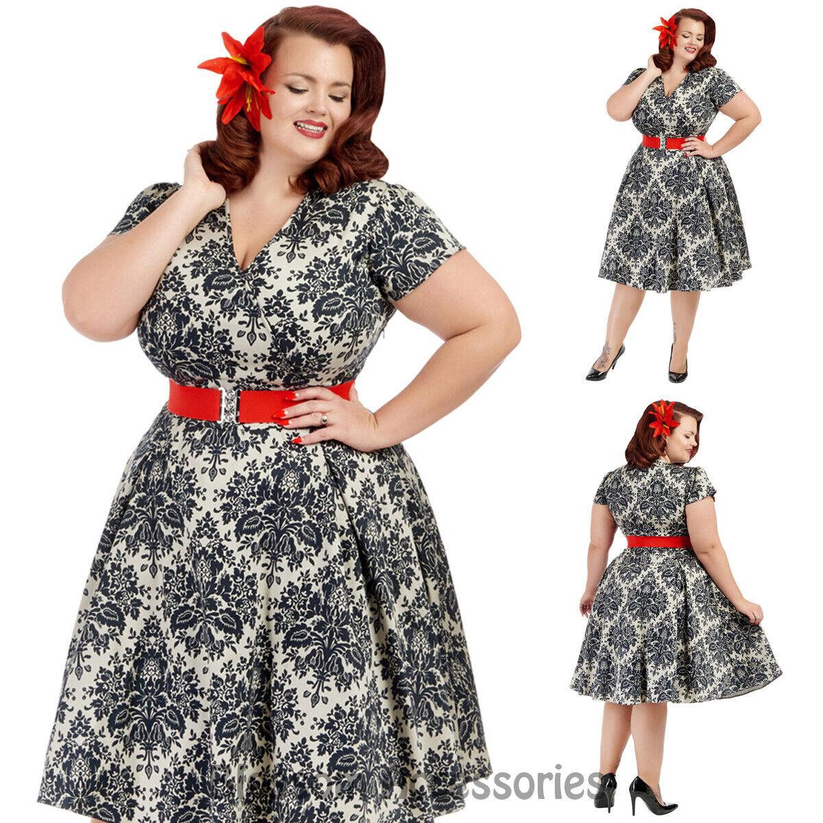 RKL33 Lady Vintage Damask Plus Dress Swing Retro Rockabilly Pin Up Party Formal