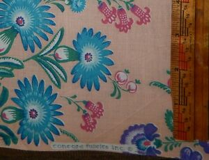 cotton-quilt-fabric-shabby-cottage-chic-rose-pink-BTY-Concord-floral-chintz-teal