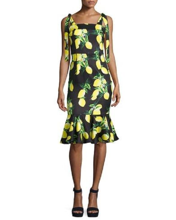 NEW FEW MODA NEW YORK Lemon On The Grass Ruffle DRESS SIZE L NORDSTROM SOLD OUT