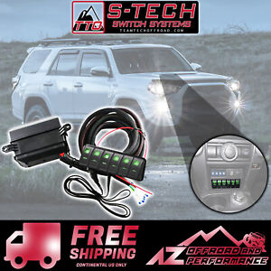 S-Tech-6-Switch-System-with-Relay-Center-Green-Dual-LED-14-18-Toyota-4Runner