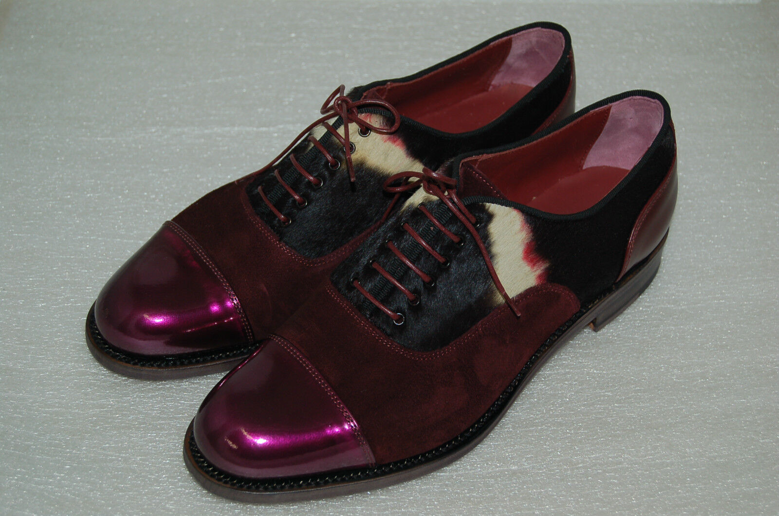 WOMAN CAPTOE OXFORD -38eu- BURGUNDY PATENT/SUEDE/ PRINTED PONY- LEATHER SOLE
