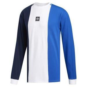 Adidas-Originals-Tripart-Skate-Maillot-a-Manches-Longues-Bleu-Marine-Blanc-T-Shirt-Top