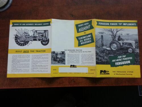 Harry Ferguson Tractor FINGER TIP IMPLEMENTS sales brochure 1952 POSTER