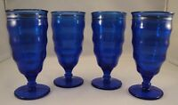 COBALT BLUE GLASS Dessert Parfait Soda Shake Glasses Pedestal Set 4 Silver Ring