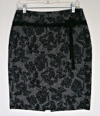 Ann Taylor Career Skirt 8 S M Pencil Wool Blend Floral Embroidery Black Slimming