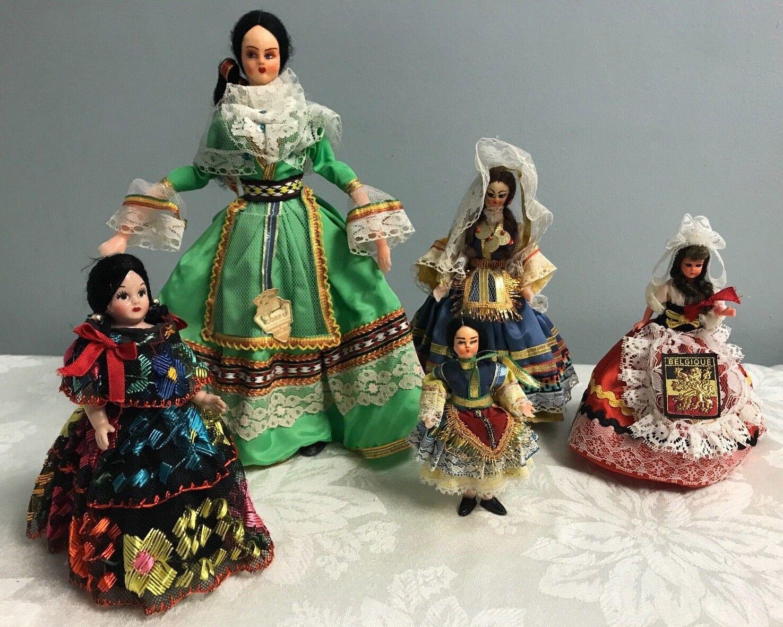 5 Vintage Greek Greece Souvenir Doll Handmade Corfu Belgiqu 5-12  Ornate Dress