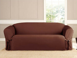 SLIPCOVER SOFA LOVESEAT CHAIR FURNITURE COVER BROWN BLACK TAUPE