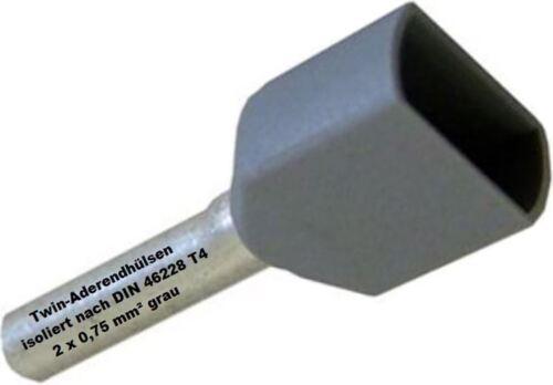 TWIN terminatore 2 x 0,75 mm² GRIGIO vene bossoli doppio terminatore stagnato