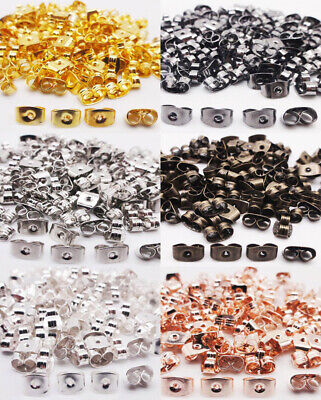 500PCS SILVER GOLD PLATED EARRING SCROLL BUTTERFLY BACKS DIY STOPPERS