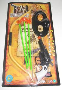 Set Kit du Petit Indien Pistolet + Masque + Flêches + Arc 35 cm
