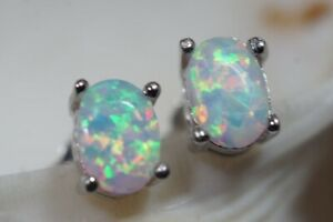 Round-White-Fire-Opal-Women-925-Silver-Fashion-Jewelry-Silver-Stud-Earrings-Gift