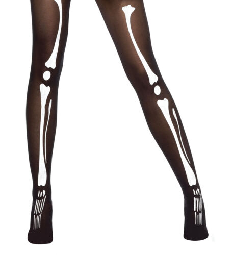 Adult /& Kids Skeleton Bone Print Gloves And Tights Halloween  Unisex Fancy Dress