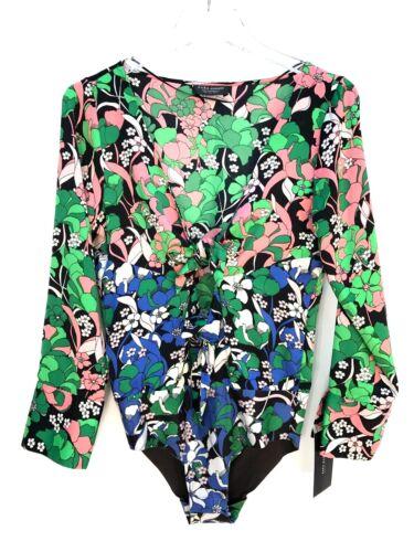 S Tie Print Front Size Zara Floral New Bodysuit L Knot M wFqt0I5