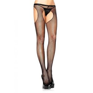 suspender fishnet pantyhose lingerie black Sexy