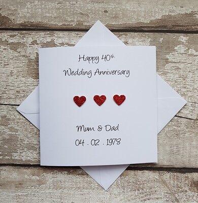 Tarjeta de aniversario de bodas-en su Rubí 40 40th aniversario Calidad Nueva