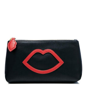 Limited-Edition-Lulu-Guinness-Makeup-Bag-or-Evening-Clutch-Black-with-Red-Lips