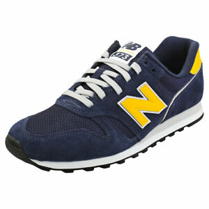 New Balance 373 Mens Navy Yellow Suede