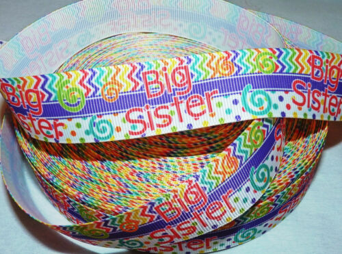 1M ASSORTED STYLE OF SISTER or BROTHER GROSGRAIN RIBBON#CRAFTS//HAIR BOWS