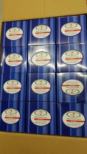 """LOT OF 48-90 SHEET EACH WHITE ALL PURPOSE FACIAL TISSUES 2 PLY CUBE 7.9 X 7.7/"""""""
