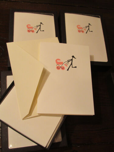 16 total NIB two Boxes R NICHOLS Pink Baby Carriage Foldover Cards /& Envelopes