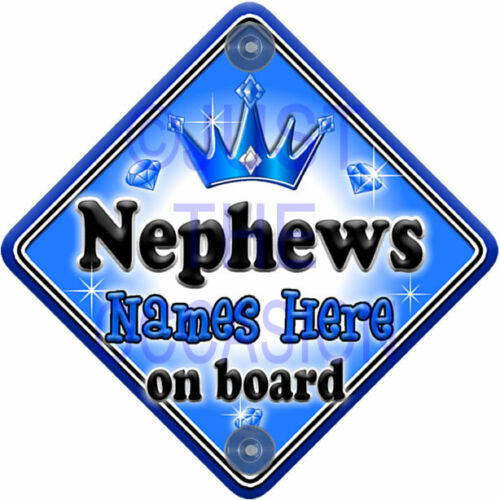 NEW  GEM JEWEL NEPHEWS  Blue Novelty Personalised Baby on Board Car Window Sign