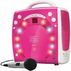 Kids Pink Karaoke Party Singing Machine Voice Lights Microphone Portable 3 CDGs