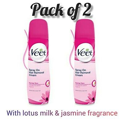2 X Veet Spray On Hair Removal Cream For Normal Skin 150ml Pack