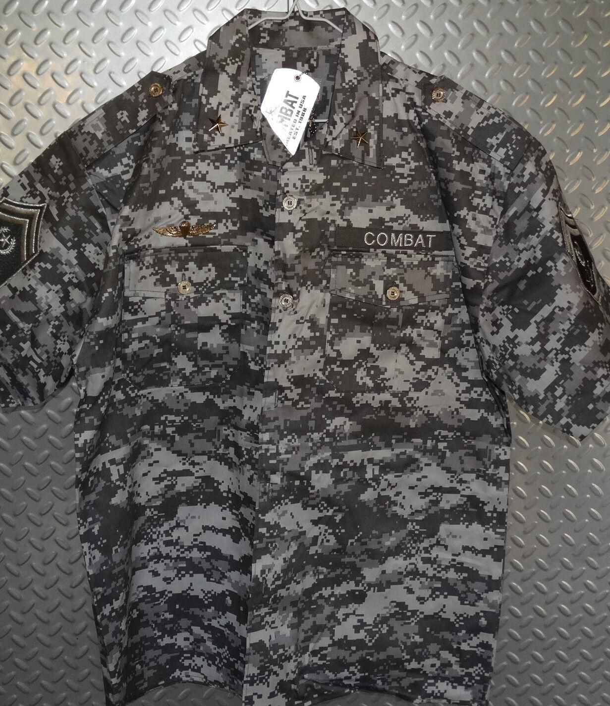 12572  REGAL MILITARY CAMO COMBAT FORCE SHIRT w  Patches Badges Medals  XL