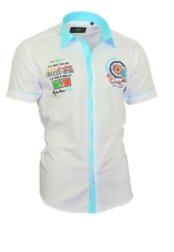 Binder de LUXE Camicia Maniche Corte Uomo Camicia ricamato ricamo shirt 82804 Bianco