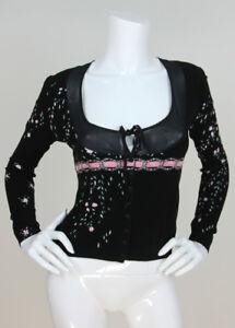 Black Blumarine Rayon Trim Sweater Print 40 Floral Stretch Silk Cardigan Sz wwaxEWO