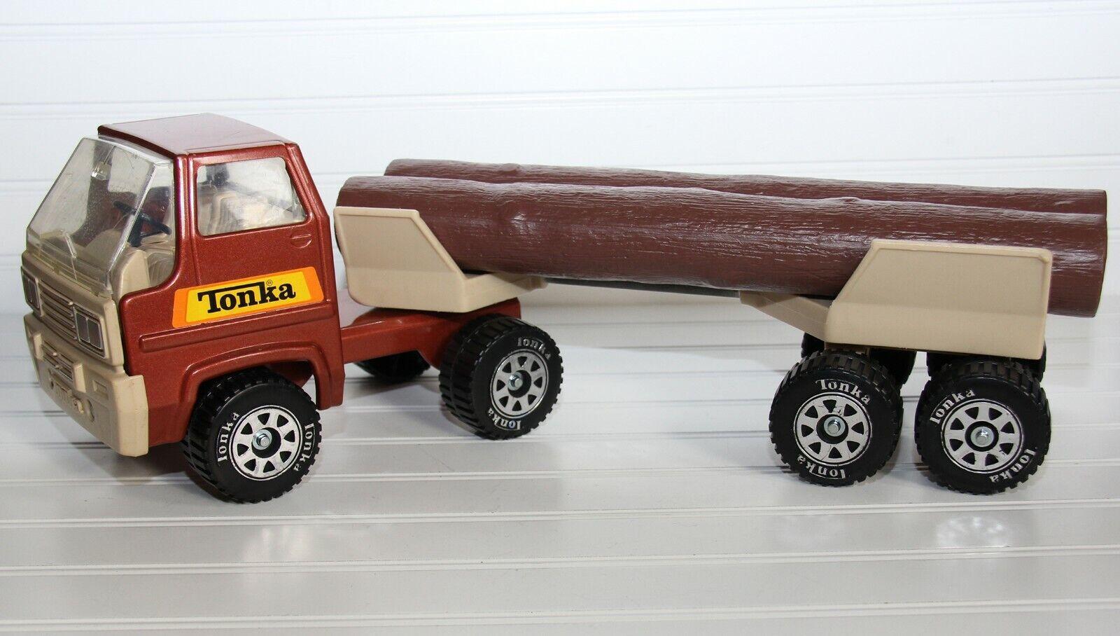 Vintage Tonka Cab sobre registro acarreo Camión Remolque Juguete Semi Retro de Acero Prensado