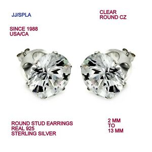 fb4340bd4 Sterling Silver Clear Round CZ Stud Earring 2 MM TO 13 MM=0.03 TO ...