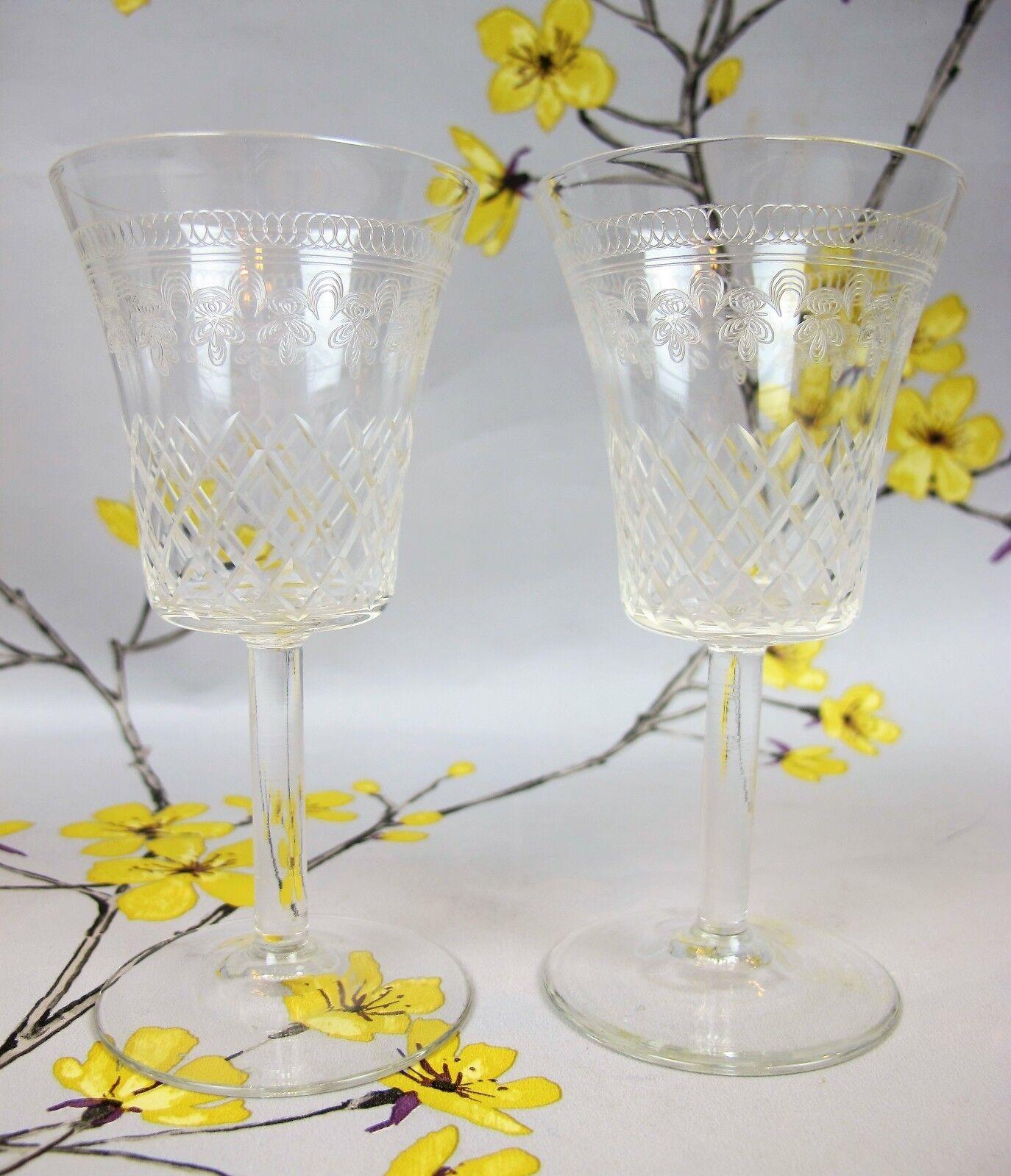 Pair Pair Pair  etched glass Pall Mall Lady Hamilton WINE SHERRY PORT LIQUOR GLASSES 4.5  e39b5d