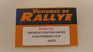 Certificat Voiture De Rallye De Collection « Ford Escort MK II »TBE.