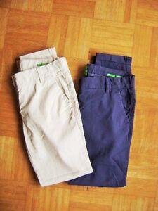 Benetton-meravigliosa-Pantaloni-Elasticizzati-beige-blu-Tgl-158-Age-12-13