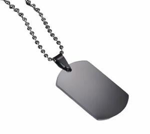 Collana Acciaio Uomo Donna Targa Targhetta Piastrina Militare Nera + Incisione