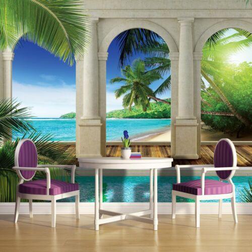 Fototapete Fototapeten  Eden Lagune Palmen Säulen Blick 3FX1526P4