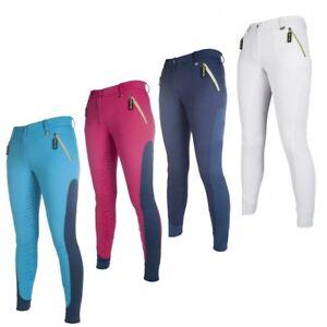 Damen-Reithose-Neon-Sports-3-4-Silikon-Besatz-HKM-PRO-TEAM-versch-Farben-NEU