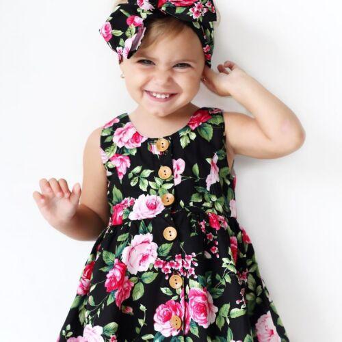 Toddler Baby Girl Summer Flower Dress Party Beach Sundress Headband 2pcs Outfits