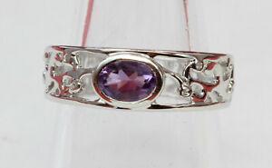 Edler-0-60-Carat-Amethyst-Ring-925-Silber-violetter-Edelstein-Groesse-7-8-und-9