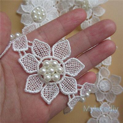 10pcs Vintage Pearl Flower Lace Edge Trim Wedding Ribbon Applique Crochet Patch