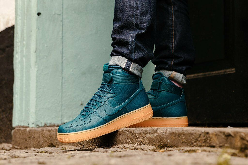 NIKE AIR FORCE 1 HI SE 860544-300 Midnight Turquoise Women's Sneakers Brand New