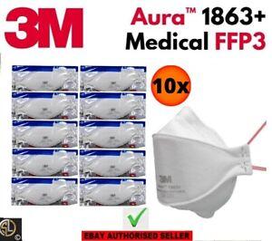 10er Set: 3M™ Aura™ Atemschutzmaske 1863+ FFP3 FFP 3 Io.Ventil - Medizin ICE2797