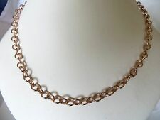 Women's Rose Gold Plated Bronze Link Chain Necklace 18 Inch's Long